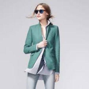 J.CREW Regent Blazer Green 100% Linen Suit Jacket